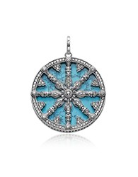 Thomas Sabo Necklaces Blackened Sterling Silver Pendant W Synthetic Turquoise And Cubic Zirconia