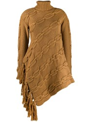 Oscar De La Renta Cable Knit Asymmetric Sweater Neutrals