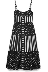 Solid And Striped Tiered Printed Voile Midi Dress Black