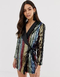 Forever Unique Stripe Sequin Blazer Dress Multi