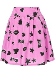 Moschino Heart And Star Print Skater Skirt Women Cotton Silk 42 Pink Purple