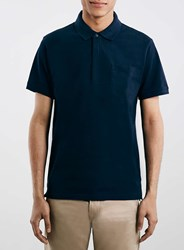 Topman Selected Homme Navy Polo Shirt Blue