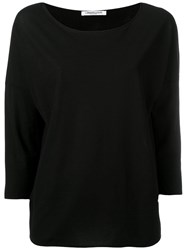 Lamberto Losani Boat Neck Blouse Black
