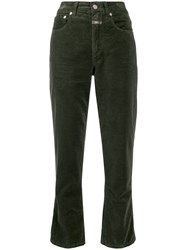 Closed High Waisted Corduroy Trousers Green