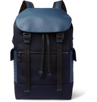 Bottega Veneta Intrecciato Leather Trimmed Canvas Backpack Navy