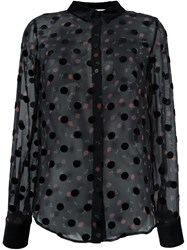 Sonia Rykiel By Semi Sheer Polka Dot Blouse Black