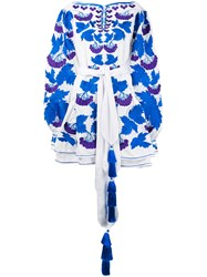 Yuliya Magdych Floral Embroidery Belted Dress Women Cotton 2 White