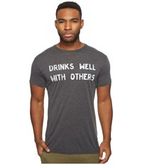 The Original Retro Brand Drinks Well With Others Short Sleeve Heather Tee Heather Black Men's T Shirt