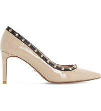 Dune Babylonn Studded Patent Court Shoes Nude Patent