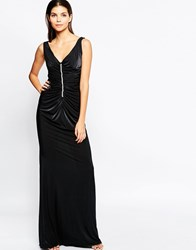 City Goddess Slinky Maxi Dress With Diamante Trim And Ruching Detail Black