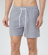 Reiss Oliver Mens Geometric Print Swim Shorts In Blue