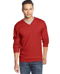 Weatherproof Vintage Solid V Neck Cashmere Blend Sweater Red