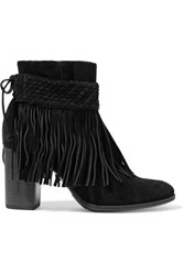 Schutz Fringed Suede Ankle Boots Black