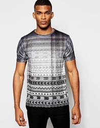 River Island Faded All Over Aztec Print T Shirt White