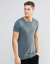 Asos Longline Muscle T Shirt With Square Neck In Slate Murky Blue
