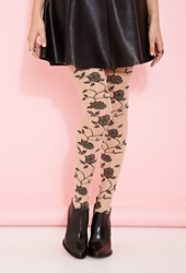 Forever 21 Rose Patterned Tights Nude Black