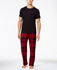 32 Degrees Men's Pajama Set Black Wineplaid