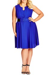 City Chic 'Vintage Veroni' Fit And Fare Dress Plus Size Pool
