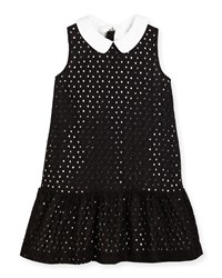 Kate Spade Sleeveless Collared Eyelet Dress Black