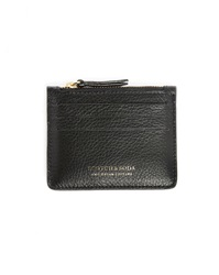 Scotch And Soda Black Leather Zipped Card Wallet