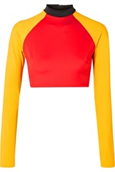Solid And Striped Re Done The Malibu Cropped Color Block Rash Guard Red Usd
