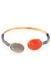 Gas Bijoux Durality Sertil Gold Plated Bangle With Onyx And Chrysoprase Multicolor
