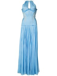 J. Mendel Pleated Gown Women Silk 8 Blue