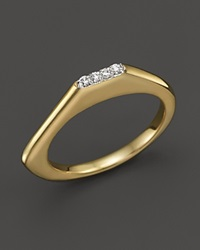 Kara Ross 18K Yellow Gold Pangea Long Angle Pave V Stacking Ring With Diamonds Gold White