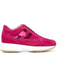Hogan Lace Up Sneakers Pink Purple