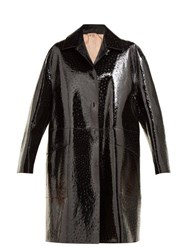 N 21 No. Ostrich Effect Single Breasted Leather Coat Black