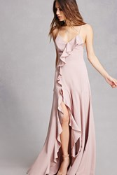 Forever 21 Lilibet Front Slit Maxi Dress Taupe