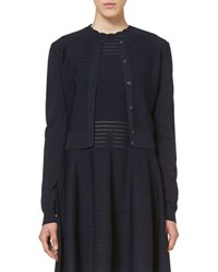 Carolina Herrera Open Stitch Knit Cardigan Navy