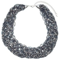 John Lewis Seed Bead Statement Collar Necklace Silver Multi