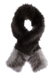 Mint Velvet Charcoal Faux Fur Blocked Scarf Grey