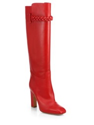 Valentino Leather Knee High Boots Red