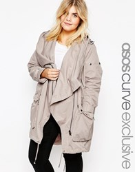 Asos Curve Waterfall Parka Stone