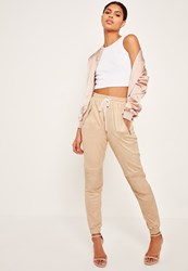 Missguided Faux Suede Biker Knee Joggers Nude