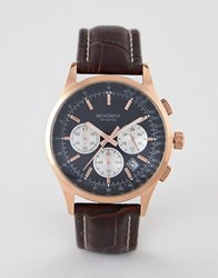 Sekonda 3413 Chronograph Watch With Black Dial And Brown Leather Strap