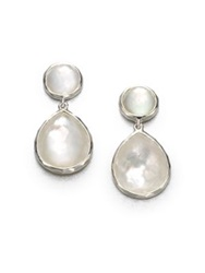 Ippolita Wonderland Mother Of Pearl Clear Quartz And Sterling Silver Snowman Doublet Drop Earrings Mother Of Pearl