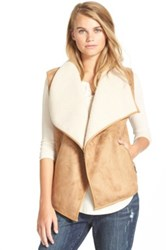 Bernardo Collection B Faux Shearling Vest Juniors Brown