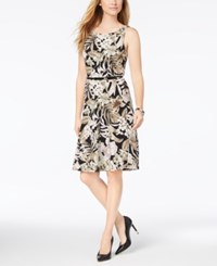 Nine West Belted A Line Dress Black Cypress