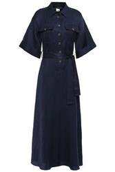 Iris And Ink Woman Ingrid Belted Twill Maxi Shirt Dress Navy