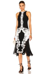 Jonathan Simkhai Lace Crepe Applique Dress In Black White Black White