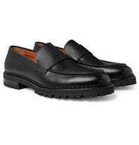 Lanvin Pebble Grain Leather Loafers Black