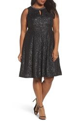 London Times Plus Size Women's Beaded Neck Fit And Flare Dress Black