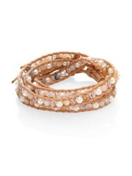 Chan Luu Pearl Opal And Crystal Leather Wrap Bracelet Brown Multi