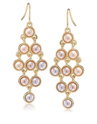 Carolee Peach Blossom Goldtone And Faux Pearl Chandelier Earrings Pink Gold