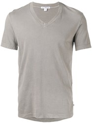 James Perse V Neck T Shirt Men Cotton 34 Grey
