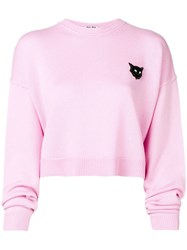 Miu Miu Cropped Cat Sweatshirt Pink