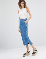 Warehouse Denim Midi Skirt Light Wash